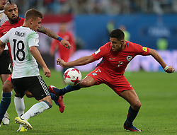 July 2, 2017 - Saint Petersburg, Russia - Joshua Kimmich (L) of the Chile national football team and Alexis Sanchez of the Germanyl national football team vie for the ball during the 2017 FIFA Confederations Cup final match between Chile and Germany at Saint Petersburg Stadium on July 02, 2017 in St. Petersburg, Russia. (Credit Image: © Igor Russak/NurPhoto via ZUMA Press)