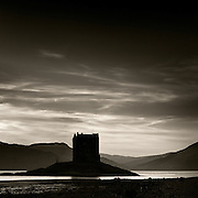 I arrived at Portnacroish just as the sun was dipping behind the hills of Morven in the distance and I was running out of light fast. Fortunately the tide was out and the exposed mud flats of Loch Laich were solid enough for me to stride down to within a stone's throw of Castle Stalker, its foreboding silhouette against the wispy cirrus clouds creating a rich atmosphere that I was grateful to have captured.