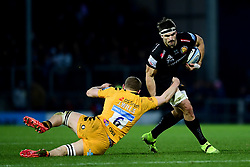 Don Armand of Exeter Chiefs is challenged by Jack Willis of Wasps - Mandatory by-line: Ryan Hiscott/JMP - 30/11/2019 - RUGBY - Sandy Park - Exeter, England - Exeter Chiefs v Wasps - Gallagher Premiership Rugby