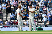 Jonny Bairstow of England and Alastair Cook of England chat during the drinks break during the first day of the 4th SpecSavers International Test Match 2018 match between England and India at the Ageas Bowl, Southampton, United Kingdom on 30 August 2018.