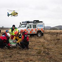 Paramedics from SCAA, (Scotland's Charity Air Ambulance) pictured training with the Ochil Mountain Rescue Team.<br /> Picture by Graeme Hart.<br /> Copyright Perthshire Picture Agency<br /> Tel: 01738 623350  Mobile: 07990 594431