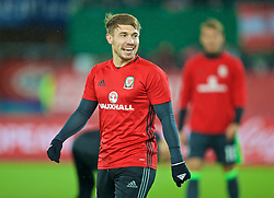 VIENNA, AUSTRIA - Thursday, October 6, 2016: Wales' Tom Bradshaw warms-up before the 2018 FIFA World Cup Qualifying Group D match against Austria at the Ernst-Happel-Stadion. (Pic by David Rawcliffe/Propaganda)