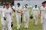5 WICKETS Richard Gleeson is congratulated during the Specsavers County Champ Div 2 match between Leicestershire County Cricket Club and Lancashire County Cricket Club at the Fischer County Ground, Grace Road, Leicester, United Kingdom on 23 September 2019.