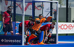 Bowdon prepare to defend a penalty corner against Team Bath Buccaneers. Bowdon v Team Bath Buccaneers - Now: Pensions Finals Weekend, Lee Valley Hockey & Tennis Centre, London, UK on 11 April 2015. Photo: Simon Parker