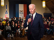 18 JANUARY 2020 - INDIANOLA, IOWA: Former Vice President JOE BIDEN speaks during a campaign event at Simpson College Saturday. About 250 people came to Simpson College to listen to Vice President talk about his reasons for running for President. Iowa hosts the first event of the presidential election cycle. The Iowa Caucuses are Feb. 3, 2020.         PHOTO BY JACK KURTZ