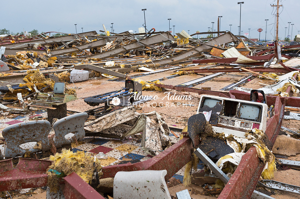 A tornado completly destroys a bowling alley in Moore, Okla. on May 20, 2013. (Photo copyright © 2013 Alonzo J. Adams)