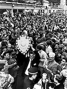 Karl Tremain of the Hawkes Bay NPC team celebrates with the Ranfurly Shield, 1967. Photo: Photosport.co.nz