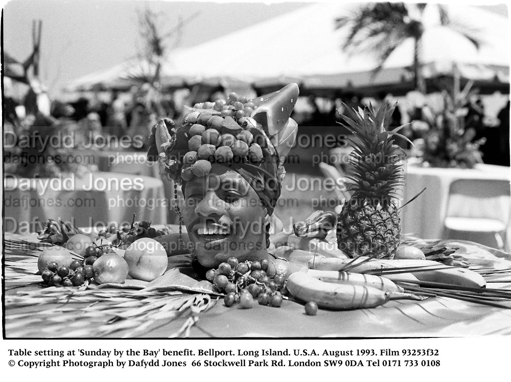 Table setting at 'Sunday by the Bay' benefit. Bellport. Long Island. U.S.A. August 1993. Film 93253f32<br /> © Copyright Photograph by Dafydd Jones<br /> 66 Stockwell Park Rd. London SW9 0DA<br /> Tel 0171 733 0108