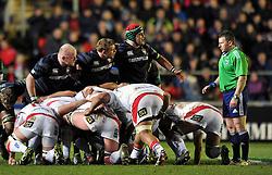 The Leicester front row has a word with referee Nigel Owens - Photo mandatory by-line: Patrick Khachfe/JMP - Tel: Mobile: 07966 386802 18/01/2014 - SPORT - RUGBY UNION - Welford Road, Leicester - Leicester Tigers v Ulster Rugby - Heineken Cup.