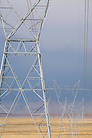 Electrical pylons in desert