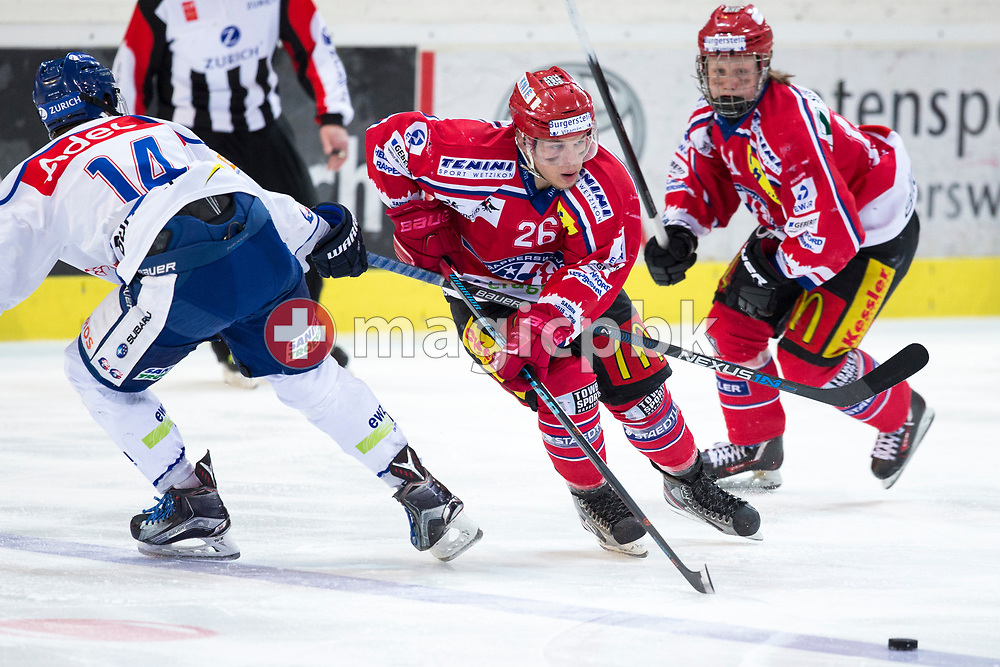 Rapperswil-Jona Lakers forward Noah Allabauer (C) against ZSC Lions defenseman Felix Vonbun (L) during the fifth Elite B Playoff Final ice hockey game between Rapperswil-Jona Lakers and ZSC Lions held at the SGKB Arena in Rapperswil, Switzerland, Sunday, Mar. 19, 2017. (Photo by Patrick B. Kraemer / MAGICPBK)