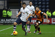 Preston North End Defender Bailey Wright and Hull City Midfielder Robert Snodgrass battle during the Sky Bet Championship match between Preston North End and Hull City at Deepdale, Preston, England on 28 December 2015. Photo by Pete Burns.