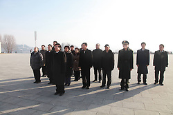 60833527  <br /> Chinese Ambassador to DPRK Liu Hongcai (Front) pays tribute to the bronze statues of late top leaders Kim Il Sung and Kim Jong Il in Pyongyang, capital of the Democratic Peoples Republic of Korea (DPRK), Dec. 16, 2013. People gathered here on Monday to commemorate late leader Kim Jong Il for the second anniversary of his death which falls on Dec. 17. Monday, 16th December 2013. Picture by  imago / i-Images<br /> UK ONLY