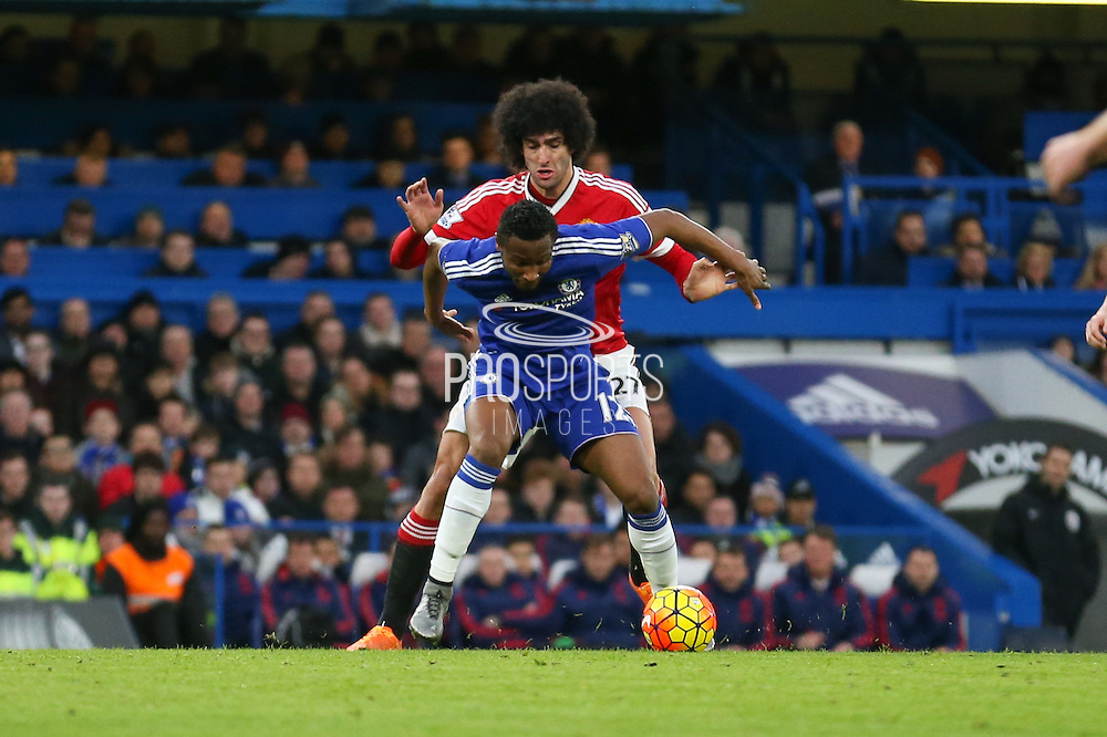 Chelsea's Mikel John Obi and Marouane Fellaini of Manchester United during the Barclays Premier League match between Chelsea and Manchester United at Stamford Bridge, London, England on 7 February 2016. Photo by Ellie Hoad.
