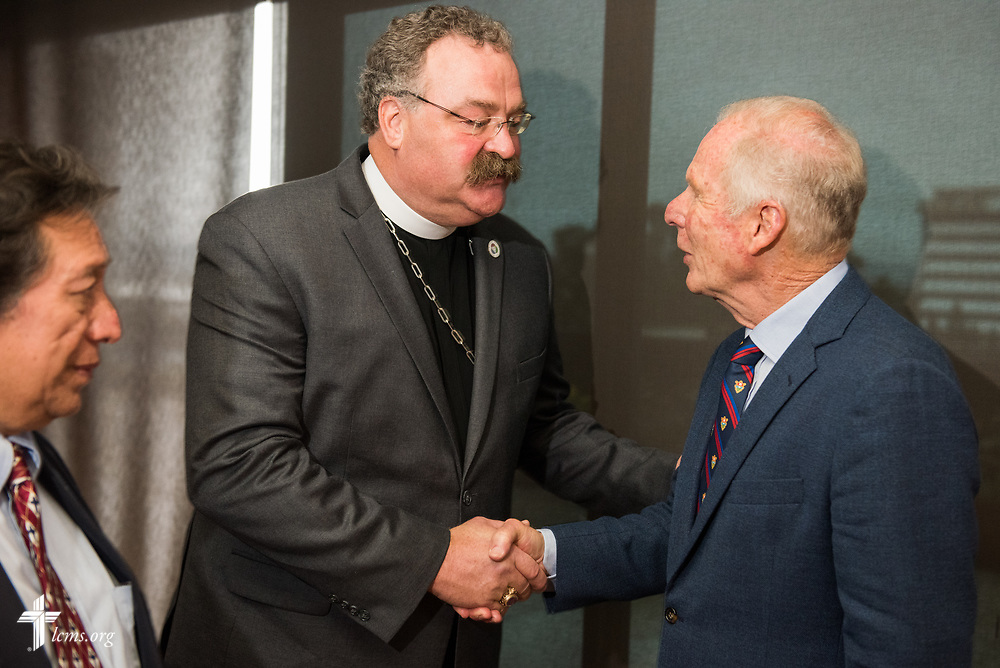 The Rev. Dr. Matthew C. Harrison, president of The Lutheran Church–Missouri Synod, meets Álvaro Arzú mayor of the city, on Thursday, Oct. 5, 2017, in Guatemala City, Guatemala. LCMS Communications/Erik M. Lunsford