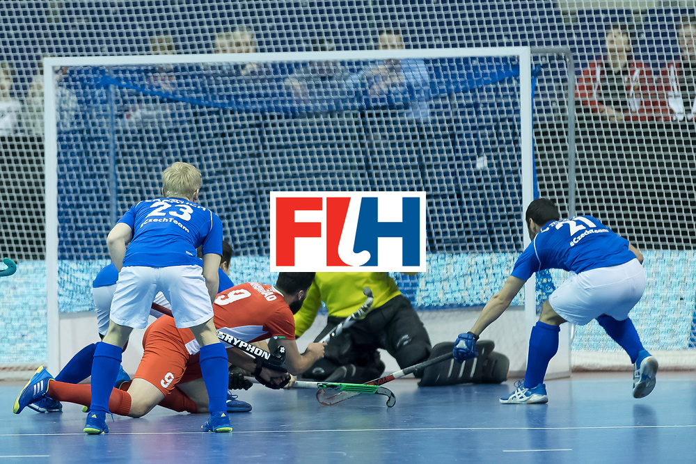 Hockey, Seizoen 2017-2018, 09-02-2018, Berlijn,  Max-Schmelling Halle, WK Zaalhockey 2018 MEN, Iran - Czech Republic 2-2 Iran Wins after shoutouts, Navid Taherirad with a opportunity.