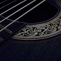 A macro shot of a guitar