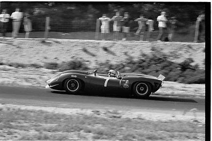 John Surtees, eventual 1966 Can-Am series champion, in Lola T70 during that year's first round at Bridgehampton; PHOTO BY Pete Lyons 1966 / www.petelyons.com