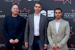 "Left to right on the red carpet, Writer Geoff Thompson, Directors Ludwig Shammmasian and Paul Shammasian during the Edinburgh International Film Festival Premier of ""Romans"" at Cineworld Edinburgh, Saturday 1st July 2017(c) Brian Anderson 