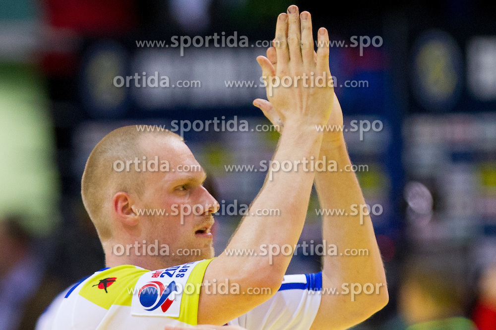 MIha Zvizej of Slovenia after the handball match between Slovenia and Croatia in  2nd Round of Preliminary Round of 10th EHF European Handball Championship Serbia 2012, on January 18, 2012 in Millennium Center, Vrsac, Serbia. Croatia defeated Slovenia 31-29. (Photo By Vid Ponikvar / Sportida.com)