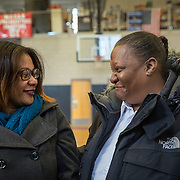 WASHINGTON,DC - MAR18: Lashae Hunter, a senior at Cesar Chavez Public Charter School for Public Policy, celebrates with her mother Warrenrenia Hunter, after she was surprised at school with a hand-delivered acceptance letter and full scholarship to attend George Washington University, March 18, 2015, through the Stephen Joel Trachtenberg Scholarship program. (Photo by Evelyn Hockstein/For The Washington Post)