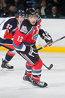 KELOWNA, CANADA - NOVEMBER 1:  Tyrell Goulbourne #12 of the Kelowna Rockets skates on the ice against the Kamloops Blazers at the Kelowna Rockets on November 1, 2012 at Prospera Place in Kelowna, British Columbia, Canada (Photo by Marissa Baecker/Shoot the Breeze) *** Local Caption ***