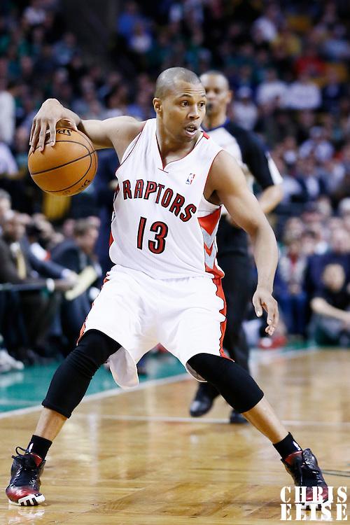 13 March 2013: Toronto Raptors point guard Sebastian Telfair (13) dribbles during the Boston Celtics 112-88 victory over the Toronto Raptors at the TD Garden, Boston, Massachusetts, USA.