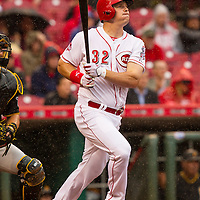 April 6, 2015:   Cincinnati Reds right fielder Jay Bruce watches his solo home run during the 5th inning to put the Reds up 2-0 in today's Opening Day game against the Pittsburgh Pirates at Great American Ballpark in Cincinnati, OH.