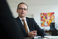 29 APR 2014, BERLIN/GERMANY:<br /> Heiko Maas, SPD, Bundesminister fuer Justiz und Verbraucherschutz, waehrend einem Interview, in seinem Buero, Bundesministerium fuer Justiz und Verbraucherschutz<br /> IMAGE: 20140429-01-013<br /> KEYWORDS: Büro, Bundesjustizminister