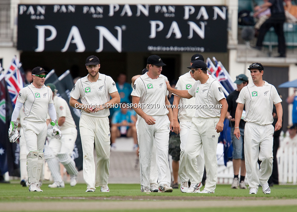 New Zealand players enter the field at the start of play during day one of the 2nd cricket test match between NZ Black Caps and Australia, at Seddon Park, Hamilton, 27 March 2010. Photo: Stephen Barker/PHOTOSPORT