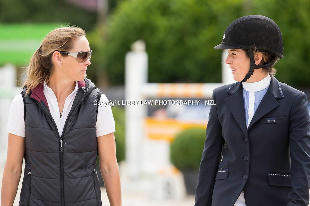 NZL-Amy Collinson (CAPELLO G) walks the course with NZL-Samantha McIntosh:  CSI1* TABLE A AGAINST THE CLOCK WITH JUMP OFF (135cm) 2014 BEL-Bonheiden CSI1*/CSI3* (Friday 27 June) CREDIT: Libby Law COPYRIGHT: LIBBY LAW PHOTOGRAPHY - NZL