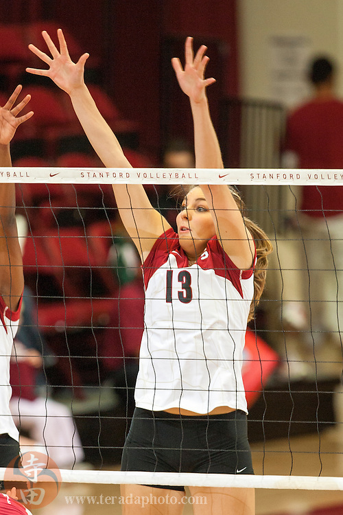 November 25, 2006; Stanford, CA, USA; Stanford Cardinal middle blocker Lizzie Suiter (13) during the game against the Washington State Cougars at Maples Pavilion. The Cardinal defeated the Cougars 30-27, 30-23, 30-18.
