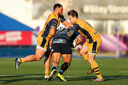 Nick Williams of Cardiff Blues is tackled by Jack Lam (capt) and Adrian Jarvis of Bristol Rugby - Rogan Thomson/JMP - 21/01/2017 - RUGBY UNION - Cardiff Arms Park - Cardiff, Wales - Cardiff Blues v Bristol Rugby - EPCR Challenge Cup.