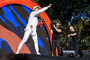 Photo of Major Lazer performing live on stage at Global Citizen Festival in Central Park, NYC on September 24, 2016. © Matthew Eisman. All Rights Reserved