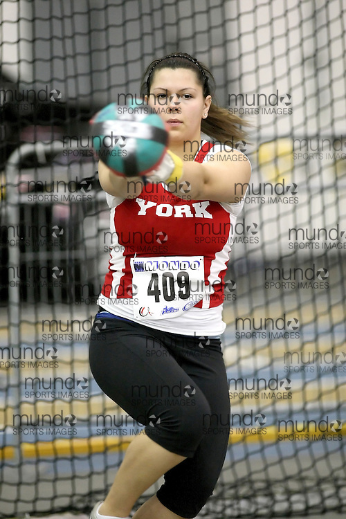 Windsor, Ontario ---12/03/09--- Kristen Obrochta of  York University competes in the Women's Weight Throw at the CIS track and field championships in Windsor, Ontario, March 12, 2009..Sean Burges Mundo Sport Images