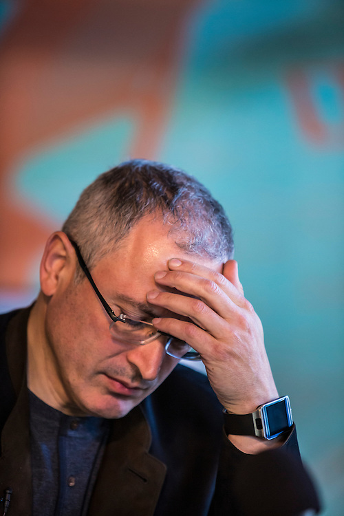 DONETSK, UKRAINE - APRIL 27: Mikhail Khodorkovsky, the former owner of one of Russia's largest oil companies, holds a public meeting and press conference at Izolyatsia, a non-governmental arts foundation, on April 27, 2014 in Donetsk, Ukraine. Khodorkovsky was visiting Eastern Ukraine to meet with local businessmen and members of the public regarding the political crisis there. (Photo by Brendan Hoffman/Getty Images) *** Local Caption *** Mikhail Khodorkovsky