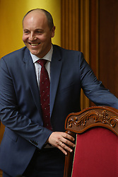 Ukrainian new Parliament speaker Andriy Parubiy speaks during the Ukrainian parliament session in Kiev, Ukraine on April 14, 2016. The Ukrainian parliament approved the formation of a new cabinet on Thursday following a replacement of the prime minister. EXPA Pictures © 2016, PhotoCredit: EXPA/ Photoshot/ Xinhua<br /> <br /> *****ATTENTION - for AUT, SLO, CRO, SRB, BIH, MAZ, SUI only*****
