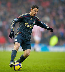 STOKE, ENGLAND - Saturday, January 16, 2010: Liverpool's Maxi Rodriguez makes his debut for the Reds during the Premiership match against Stoke City at the Britannia Stadium. (Photo by David Rawcliffe/Propaganda)