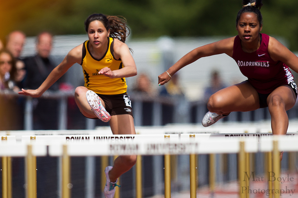 Rowan University's Francesca Contino competes in the women's 100 meter hurdles at the NJAC Track and Field Championships at Richard Wacker Stadium on the campus of  Rowan University  in Glassboro, NJ on Sunday May 5, 2013. (photo / Mat Boyle)