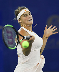 WUHAN, Sept. 29, 2018  Aryna Sabalenka of Belarus returns a shot during the singles final match against Anett Kontaveit of Estonia at the 2018 WTA Wuhan Open tennis tournament in Wuhan, central China's Hubei Province, on Sept. 29, 2018. Aryna Sabalenka won 2-0 and claimed the title. (Credit Image: © Song Zhenping/Xinhua via ZUMA Wire)