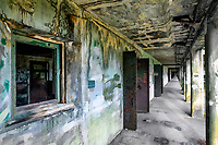 WA14527-00...WASHINGTON - Abstract image of hall with paint swatches at Fort Warden State Park in Port Townsend.