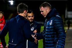 Bristol Rovers manager Tom Parrinello speaks with Bristol Rovers manager Graham Coughlan - Mandatory by-line: Robbie Stephenson/JMP - 29/10/2019 - FOOTBALL - County Ground - Swindon, England - Swindon Town v Bristol Rovers - FA Youth Cup Round One