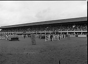 Shell Puissance Competition R.D.S..1985..07.08.1985..08.07.1985..7th August 1985..The Shell sponsored Puissance was held in the R.D.S.Dublin during Dublin Horse Show week..Picture shows a view of the showjumping arena over which the Irish Shell sponsored Puissance was held.