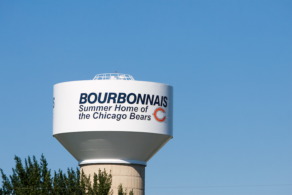 The water tower in Bourbonnais, IL is decorated for the Chicago Bears, who have their summer training camp at the town's Olivet Nazarene University.