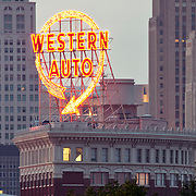 Western Auto sign atop Western Auto Building, downtown Kansas City, Missouri, Taken from Main and Grand Blvd.