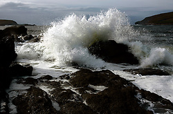 IRELAND KERRY IVERAGH PENINSULA 4NOV05 - Waves crash against a rock near Cahersiveen on the Iveragh Peninsula in county Kerry, Irelands most westerly county...jre/Photo by Jiri Rezac..© Jiri Rezac 2005..Contact: +44 (0) 7050 110 417.Mobile: +44 (0) 7801 337 683.Office: +44 (0) 20 8968 9635..Email: jiri@jirirezac.com.Web: www.jirirezac.com..© All images Jiri Rezac 2005 - All rights reserved.