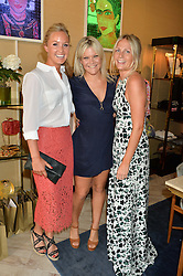 Left to right, LADY MELISSA PERCY, OLIVIA PERRY and MADDIE CHESTERTON at the launch of AYA jewellery by Chelsy Davy held at Baar & Bass, 336 Kings Road, London on 21st June 2016.