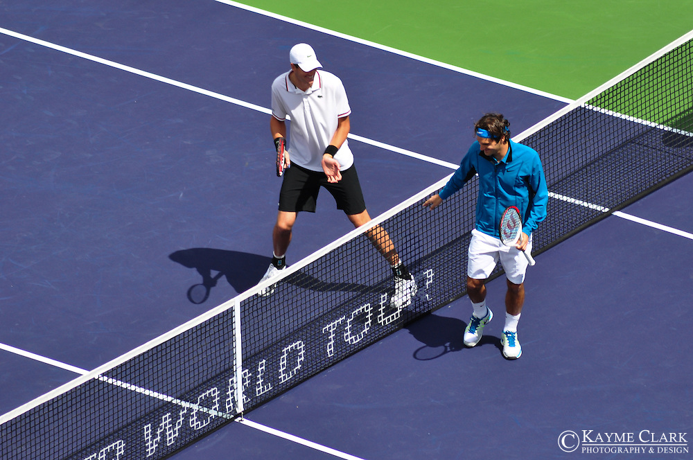 Roger Federer versus John Isner during the Championship match at the BNP Paribas Open in Indian Wells, California.