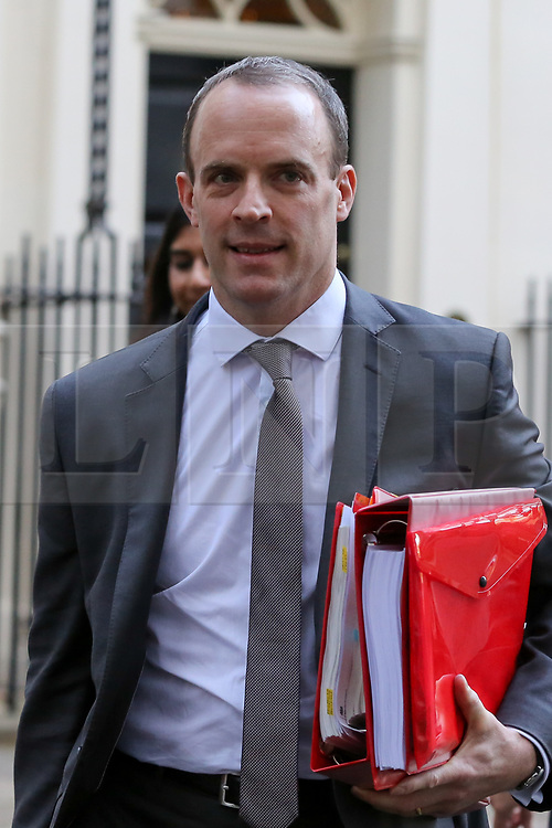 © Licensed to London News Pictures. 14/11/2018. London, UK. Dominic Raab - Brexit Secretary departs from Downing Street attend Prime Minister's Questions (PMQs) in the House of Commons. Photo credit: Dinendra Haria/LNP