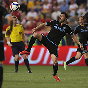 David Villa, NYCFC, in action during the New York Red Bulls Vs NYCFC, MLS regular season match at Red Bull Arena, Harrison, New Jersey. USA. 10th May 2015. Photo Tim Clayton